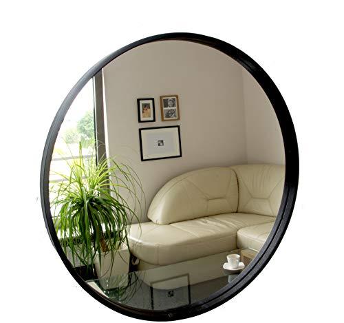 BD ART Rund Spiegel, Wandspiegel, 50cm Durchmesser, Holz, Schwarz
