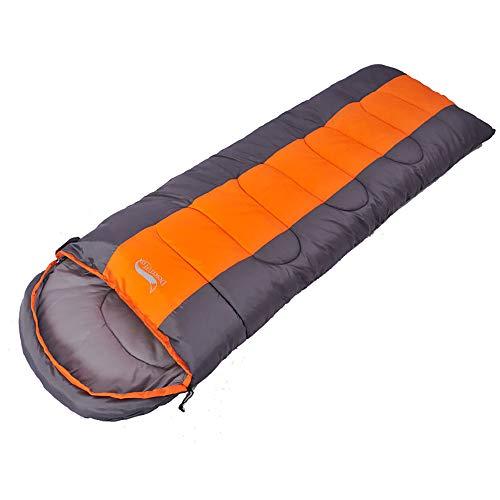 Slaapzak voor volwassenen, reiskampeerslaapzak, kan worden gesplitst, waterdicht, gemakkelijk mee te nemen, met opbergtas,Orange,1.4KG