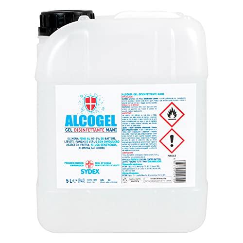 Eurocali Gel Disinfettante Mani Professionale Igienizzante Antibatterico - Presidio Medico Chirurgico Elimina Odori Fino al 99,9% di Germi Funghi Batteri e Virus (Tanica da 5L)