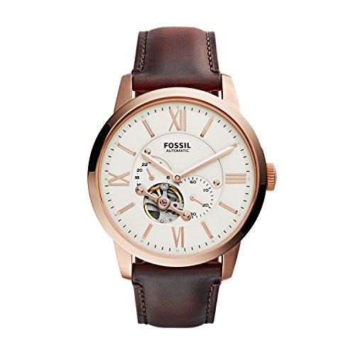 Fossil Herren Analog Automatik Uhr mit Leder Armband ME3105