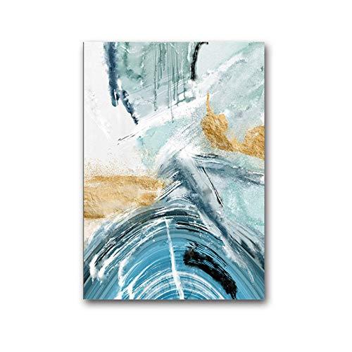 FRTTCYO Poster Moderne abstrakte Leinwand Malerei Poster und Druck für Wohnzimmer Blue Bedroom Home Decor Bild Große Wandkunst Golden Unframed Poster -50x70cmx1 No Frame
