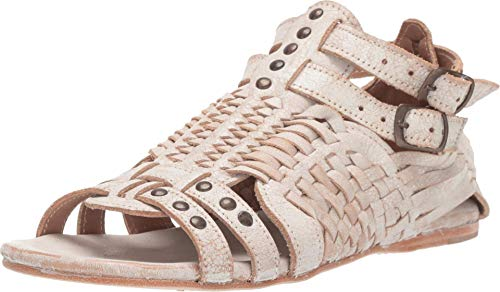 BED|STÜ Claire Women's Leather Sandal - Distressed Leather Sandal - Flat With Buckle Closure - Classic Huarache Sandal - Natural Lux Size 8.5
