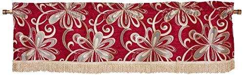 Violet Linen Chenille Chateau Vintage Floral Design Window Valance, 60' x 15', Burgundy
