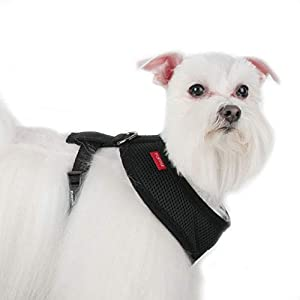 Puppia Soft Dog Harness No Choke Over-The-Head Triple Layered Breathable Mesh Adjustable Chest Belt and Quick-Release Buckle, Black, Medium