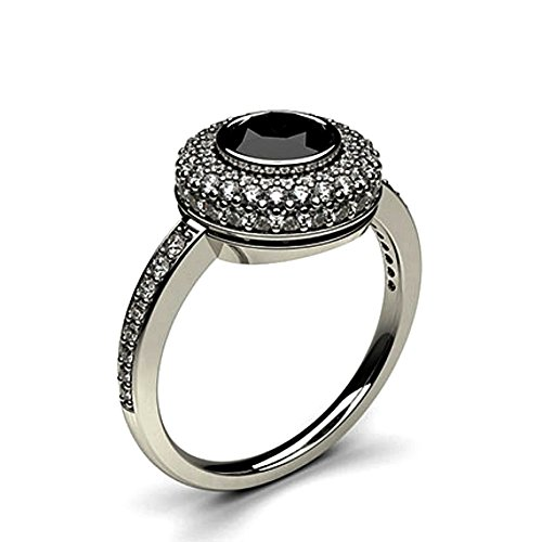 JewelsForum 1.12 Quilates Diamante Negro Anillo De Compromiso Clásico Solitario Diamante De Oro Blanco De 14K Para Mujer
