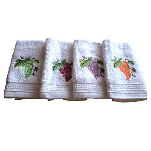 Bgeurope brodée Blanc en tissu éponge de cuisine torchons – Plat chiffons – Ref. Raisin