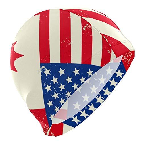 Jingliwang, cuffia da nuoto per nuotare con bandiere americane e canadesi, cappello comodo e delicato sulla pelle per adolescenti adulti