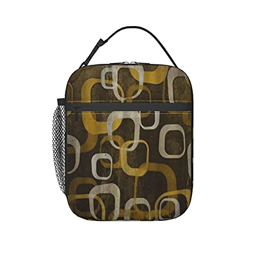 PANILUR Lunch Bag Tote Earrings Geometric Pattern Retro,Lunch Box Cooler Insulated Lunch Tote Bag with Shoulder Strap for Adult Men Lady Outdoor School Bag Picnic Camping Travel