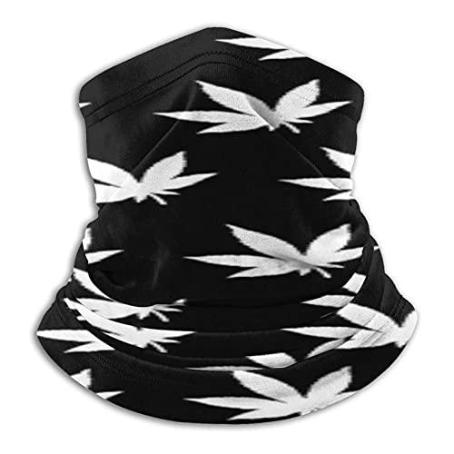 asdew987 Marihuana hierba hoja impresa metal hombres y mujeres microfibra cuello calentador polaina elástico cara media máscara tubo bufanda versatilidad bandana diadema diadema