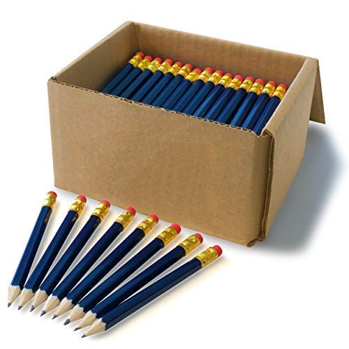Half Pencil with Eraser, Golf, Craft, School, Church, Hexagon, Number 2, Sharpened, Box of 144 (Navy Blue, 4 Inch)