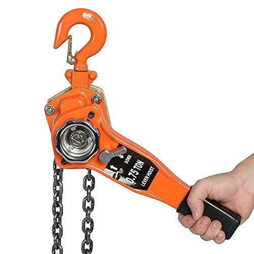 Palan manual de bloqueo de cadena de elevación, cadena de elevación de polea de palanca de carraca de cadena de palan con cadena de bloque de palanca de elevación de acero resistente (3T)