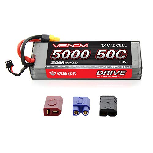Venom Sport Power 50C 2S 5000mAh 7.4V LiPo Battery ROAR Approved with Universal Plug (EC3/Deans/Traxxas/Tamiya)
