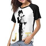 Justin Timberlake Women Short Sleeve Baseball T Shirts Casual Loose Blouse Tops Black