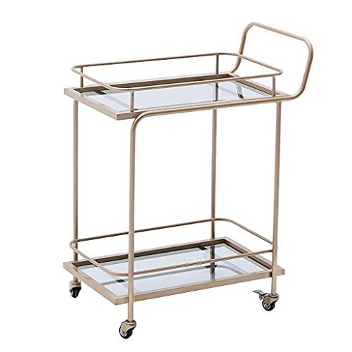 Estante de vino artístico de hierro de 2 niveles con ruedas, barra de cocina, comedor, té, soporte para vino, carrito de barra rodante, muebles, carrito de cocina y baño