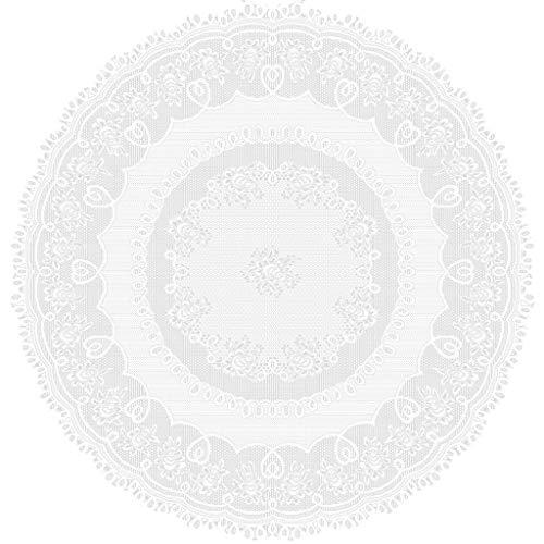 Y56 Tischdecke rund Spitze Crochet Effekt 180cm, Tischdecke/Tischsets, Häkelmuster mit Spitze (Weiß, 180cm/70)