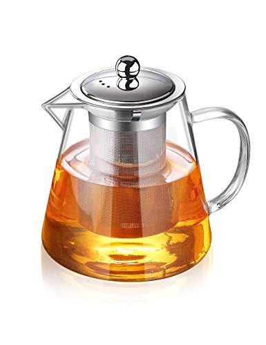 Glas-Teekanne mit Teesieb, Teekanne für Herd und lose Blätter, 950 ml