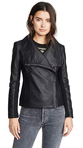 BB Dakota Damen up to Speed vegan Leather Jacket with Rib Knit Undersleeve Kunstlederjacke, schwarz, X-Klein