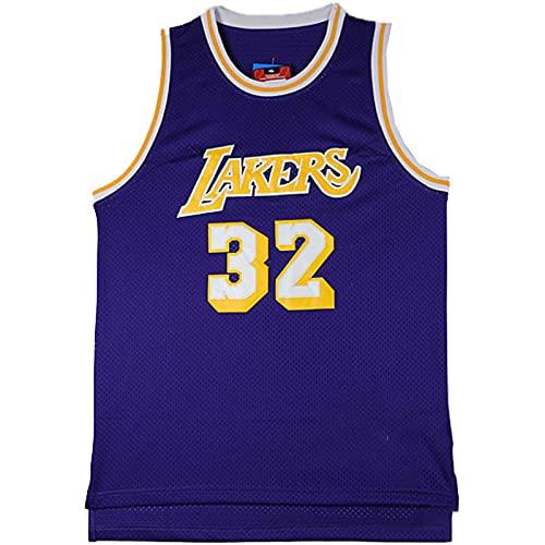 KKSY Camisetas de Hombre Magic Johnson # 32Los Angeles Lakers Camisetas de Baloncesto Chaleco Transpirable,B,XXL
