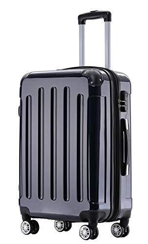 BEIBYE Zwillingsrollen 2048 Hartschale Trolley Koffer Reisekoffer Taschen Gepäck in M-L-XL-Set (Dunkelblau, L)