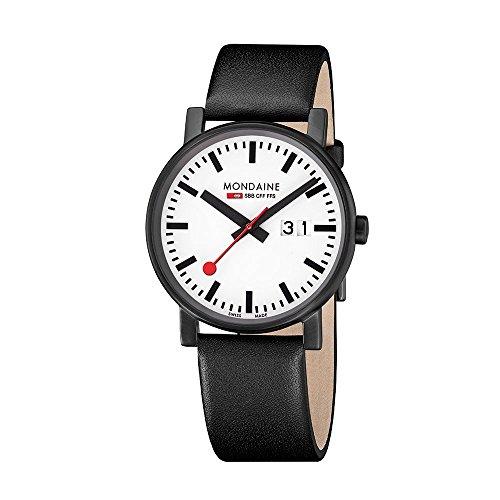 Mondaine Offizielle Schweizer Bahnhofsuhr Evo Big Damen-/ Herren-Uhr mit Datumsanzeige Schwarzes Lederarmband