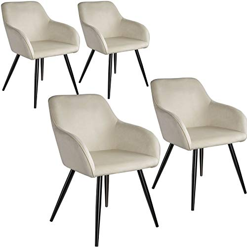tectake 800866 4er Set Esszimmerstuhl mit Armlehnen, gepolstert, Sitzfläche aus Samt, Schwarze Metallbeine, für Wohnzimmer, Esszimmer, Küche und Büro (Creme Schwarz | Nr. 404047)