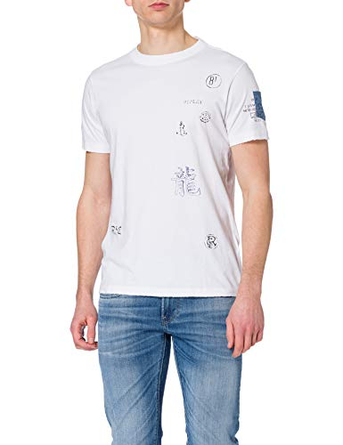 REPLAY M3368 Camiseta, Blanco (001 White), L para Hombre