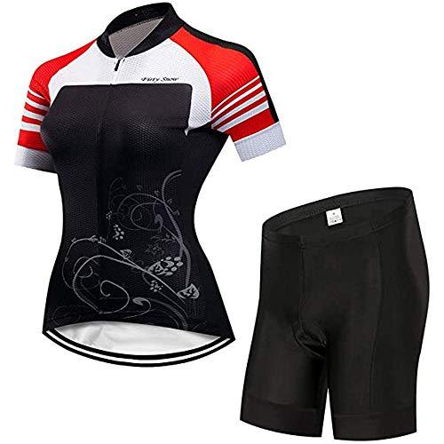 GET Set di Completo da Ciclismo da Donna, Magliette da Ciclismo MTB per Abbigliamento da Bici + con Ciclismo Estivo Traspirante Imbottito con Pettorina 9D (Colore : A, Taglia : M)