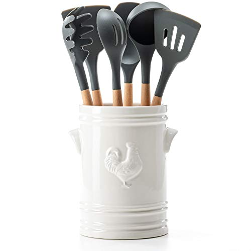 7-Piece Crock and Utensil Set White
