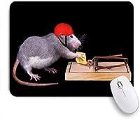ECOMAOMI 可愛いマウスパッド ネズミ取りで餌になっているチーズを盗もうとしているネズミ 滑り止めゴムバッキングマウスパッドノートブックコンピュータマウスマット