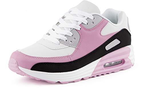Fusskleidung Herren Damen Sportschuhe Dämpfung Neon Sneaker Laufschuhe Runners Gym Unisex Schwarz Pink Weiss EU 36