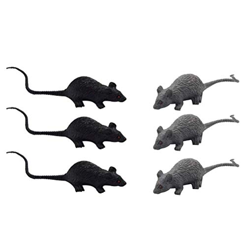 Toyvian Simulation Mini Mouse Model Halloween Trick Mouse Fake Mouse Toy for Kids 6 Pieces
