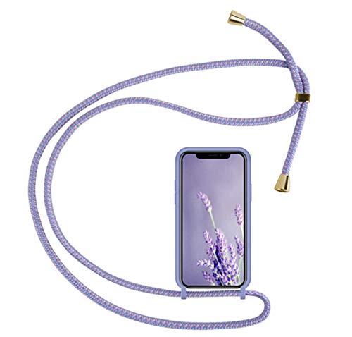 通用 Compatible con Funda con Cuerda Huawei P20 Huawei P20 Pro Carcasa Fundas Silicona Ajustable Cordon Collar Correa de Cuello Rosa Antigolpes Tapa (Huawei P20 Pro, Purple)