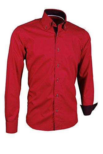 Giorgio Capone Herrenhemd, rot mit auberginefarbenen und weißen Akzenten, Langarm, Button-Down-Kragen, Slim & Regular Fit (XL Reg mit Brusttasche)