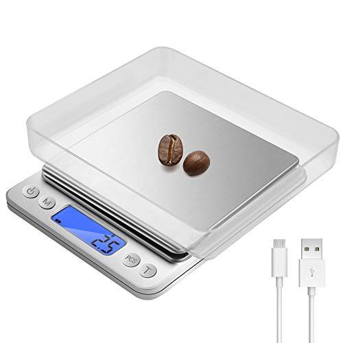 Digital Küchenwaage, Wiederaufladbare Präzision Digitale Küchenwaage(0,1g/3kg) mit 2 Tabletts, LCD-Display mit Edelstahlbeleuchtung, Tara- und PCS Funktion