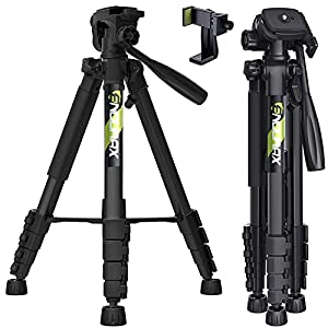 """Endurax 66"""" Video Camera Tripod for Canon Nikon Lightweight Aluminum Travel DSLR Camera Stand with Universal Phone Mount and Carry Bag"""