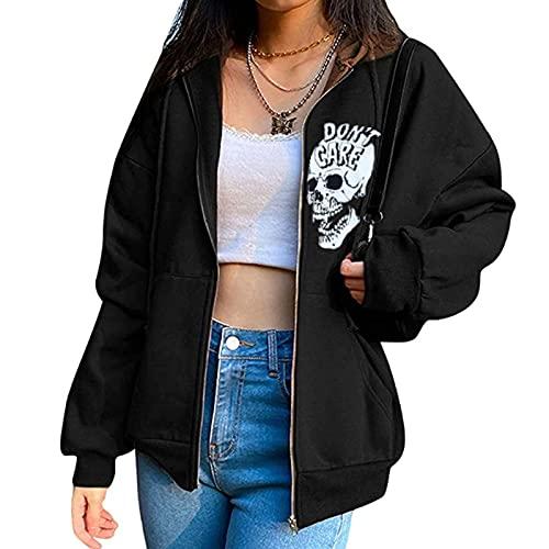 Dazzerake Sudadera con Capucha para Mujer Sudadera Casual con Estampado de de Esqueleto con Cremallera Chaquetas Abrigo Suelta Y2K Halloween Harajuku Top de Moda Streetwear (Negro B, S)