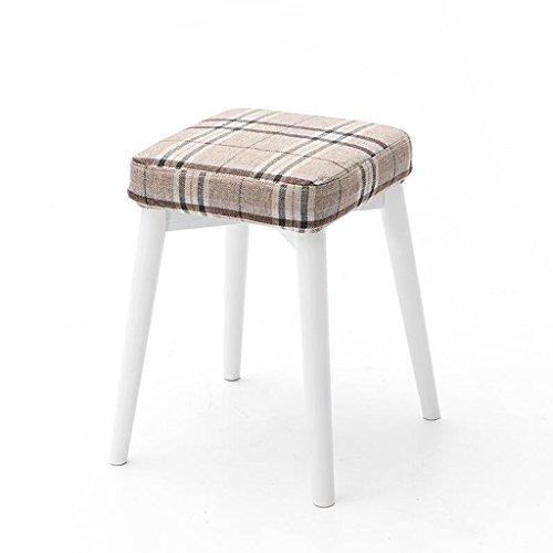 Rollsnownow Beige Treillis Coussin Blanc Stent Tabourets en bois massif Creative Mode Dressing Tabouret Tissu Table Tabouret Accueil Petit Banc