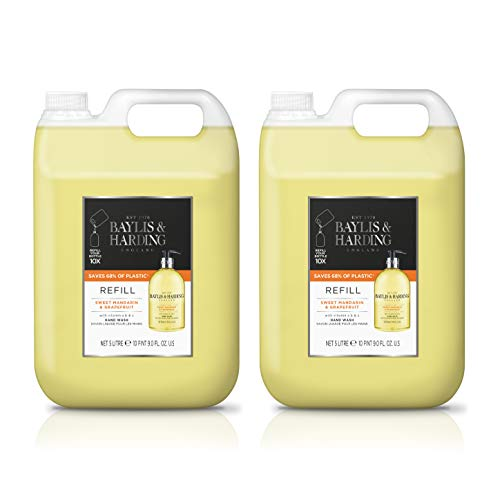 Baylis & Harding Sweet Mandarin & Grapefruit Hand Wash 5 Litre Refill (Pack of 2, total 10 litres)