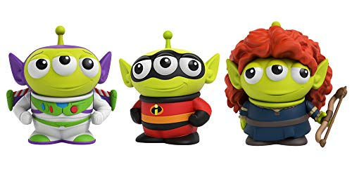 ?Pixar Alien Remix Character Figures 3-pack 3-inches, Mr. Incredible from The Incredibles, Buzz Lightyear from Toy Story and Merida from Brave, Retro fun Pizza Delivery Box Package for Ages 3 and Up