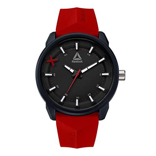 REEBOK DOD Orologio da uomo rosso, cassa da 46 mm, quadrante nero, cassa in ABS, cinturino in silicone rosso, quadrante nero/rosso (RD-DOD-G2-PBPR-BR)