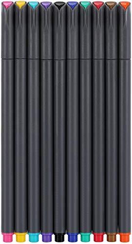 Set di penne a punta fine, 10 colori per pennarelli a punta fine, 0,6 mm, perfette per la scrittura in planner