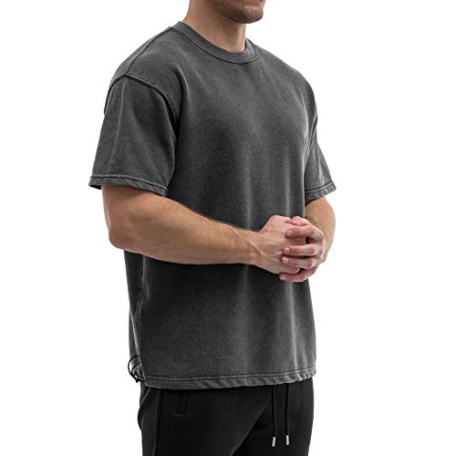 Sixlab French Terry Herren Oversize Washed T-Shirt mit Gummizug Muscle Gym Fitness Shirt (Washed-Schwarz, XL)