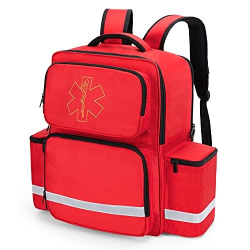 Trunab Emergency Medical Backpack Responder Trauma Bag for EMT, Home Care, Red