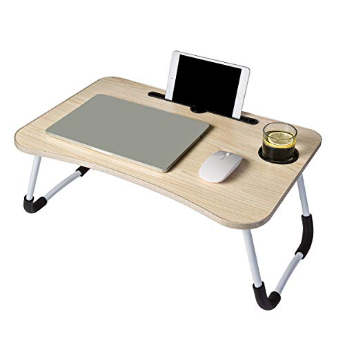 Laptop Desk Foldable Portable Lap Standing Desk with Cup Slot Breakfast Serving Bed Tray Reading Holder  Beige