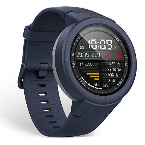 Amazfit Verge Smartwatch by Huami with GPS+ GLONASS All-Day Heart Rate and Activity Tracking, Sleep Monitoring, 5-Day Battery Life, Bluetooth, IPX68 Waterproof - A1811 (Blue)