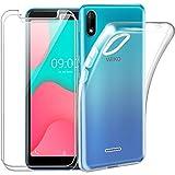 Reshias Hülle für Wiko Y80, Weich Transparent TPU Silikon Handyhülle Schutzhülle mit Zwei Gehärtetes Glas Schutzfolie Bildschirmschutzfolie für Wiko Y80 (5,99 Zoll)