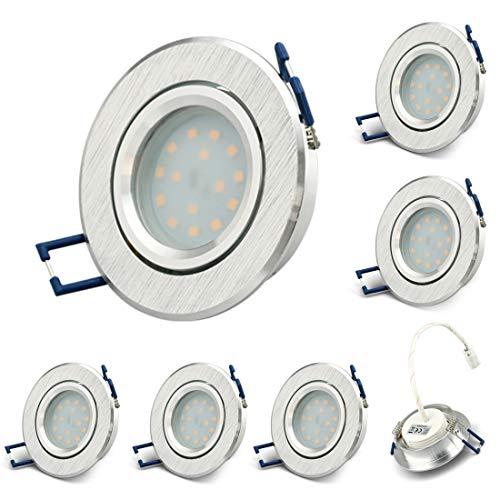 KYOTECH LED Einbauleuchten schwenkbar ultra flach 230V inkl. 6 x LED-Modul 5W 400LM 3000K Warmweiß Rund Gebürstetes Aluminium Deckeneinbauleuchte LED Spot Austauschbare Lichtquelle