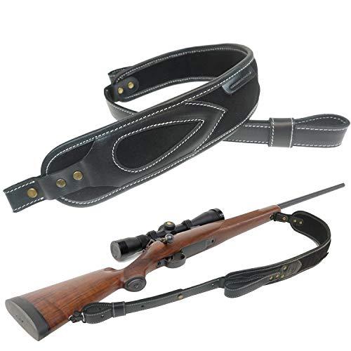 Tas Trost Rifle Sling Buffalo Hide Leather Gun Sling, Comfortable Shoulder Pad Gun Straps, (Black Sling+Swivels)