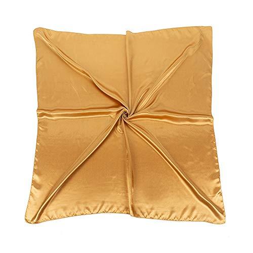 World of Shawls Halstuch, Satin, quadratisch, einfarbig, nautisches Design, groß, 90 cm x 90 cm Gr. One size, gold