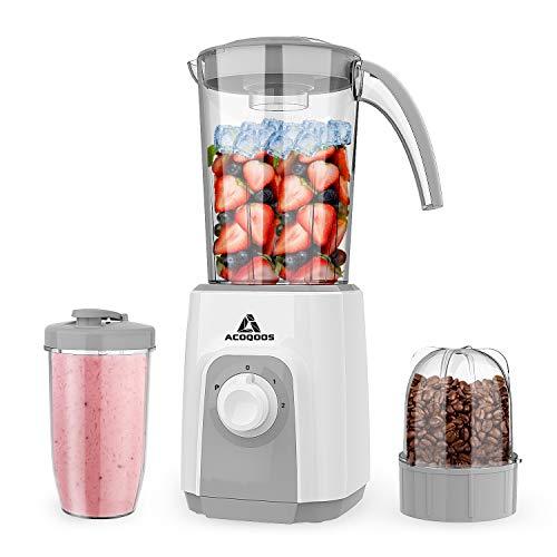 ミキサー Acoqoos ジューサー 450W スムージー 氷も砕ける 1L大容量 野菜&果物&離乳食&研磨 コーヒーミル 一台多役 持ち運びやすい 三つのモード調節でき 過熱保護 2020最新改良版